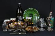 Sale 8436 - Lot 29 - Carnival Glass Grape Bowl with Other Glass incl. 2.25L Draught Bottle