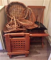 Sale 8800 - Lot 245 - A large collection of basket wares plus two folding three piece outdoor teak setting