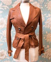Sale 8577 - Lot 106 - A Karen Millen England soft brown leather jacket with belt and buckle cuff design, size UK 8, Condition As New
