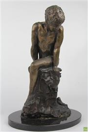 Sale 8572 - Lot 20 - Bronze On Marble Of A Nude Man
