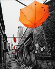 Sale 8606 - Lot 598 - Xuanmin JIN (1963 - ) - Red Lanterns and Orange Umbrella 124 x 99cm