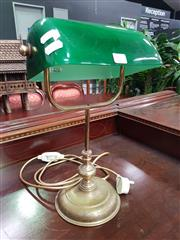 Sale 8672 - Lot 1020 - Brass Base Bankers Lamp with Green Glass Shade