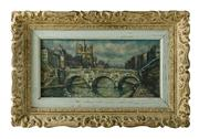 Sale 8828A - Lot 86 - Le Pont St. Michel, Paris by Raymond Besse 1899 - 1969 - oil on canvas in a carved French frame - 21 x 41 cm