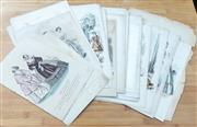 Sale 9066H - Lot 77 - A folio of French engravings, hand coloured, of C18th fashion.
