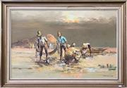 Sale 9072 - Lot 2066 - Artist Unknown The Morning Catch acrylic on canvas on board 72 x 104cm, signed -