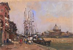 Sale 9100 - Lot 588 - William Davies (1928 - ) - Tall Ships on the Guidecca Canal, Venice 34.5 x 50 cm (frame: 54 x 70 x 5 cm)