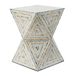 Sale 9140F - Lot 192 - Hourglass shape stool., With broad surfaces angling toward a narrow centre. Multi-coloured patterns throughout the frame. Dimensions...