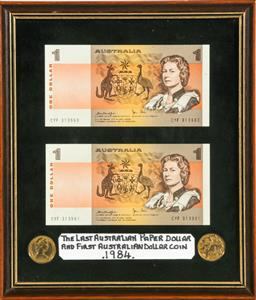 Sale 9164 - Lot 230 - A pair of Australian uncirculated $1 bank notes, consecutive serial numbers in frame 22cm x 25cm