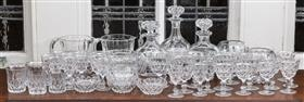 Sale 9195H - Lot 57 - A set of three matching good quality glass decanters and matching stemware and a pair of crystal vases