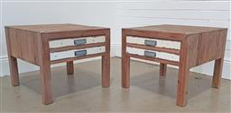 Sale 9240 - Lot 1076 - Pair of shabby chic lamp tables with faux double drawer (h:50 x w:60cm)