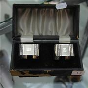 Sale 8300 - Lot 13 - English Hallmarked Sterling Silver Pair of Boxed Napkin Rings (Weight - 47g)