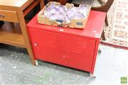 Sale 8465 - Lot 1598 - Small Red Metal Cabinet