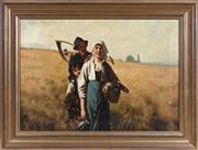 Sale 8486A - Lot 9 - Continental School, after the original held in the Gemäldegalerie zu Dresden - The Gleaners 52 x 74cm
