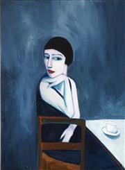 Sale 8519 - Lot 555 - Robert Dickerson (1924 - 2015) - Lady with Coffee 85 x 63cm