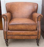 Sale 8530A - Lot 95 - A pair of brown hand rubbed aged leather club armchairs with brass stud detail, on castors, W 70 x D 67 x H of back 76.5cm