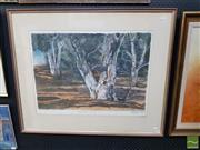Sale 8548 - Lot 2042 - Artist Unknown Gum Tree Landscape, 1990, pastel 76 x 96 (frame size) signed and dated lower right