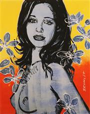 Sale 8794A - Lot 5047 - David Bromley (1960 - ) - Gillian with Flowers 36 x 28.5cm (image), 53 x 42.5 (frame)