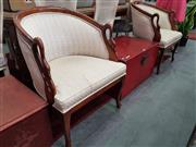 Sale 8672 - Lot 1097 - Pair of Timber Framed Tub Chairs with Swan Form Arms