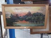 Sale 8707 - Lot 2075 - Schmidt - Cottage by Lake, oil on canvas (AF), 39 x 77.5cm (frame size), signed lower right