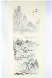 Sale 8835 - Lot 415 - Set Of Three Chinese Scrolls Featuring Mountains