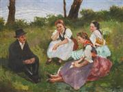 Sale 8867 - Lot 598 - Vilmos Nagy (1874 - 1953) - Peasants Resting in the Countryside 57.5 x 76.5 cm