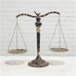 Sale 9121 - Lot 1026 - Metal weighing scales with bird form top (h:48cm)
