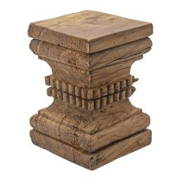 Sale 9140F - Lot 193 - Pillar base Stool. Made of  recycled hardwood with a Gray finish, With a square base and carved details, and natural texture and pat...