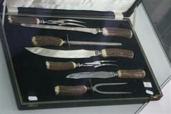 Sale 7907 - Lot 87 - Mappin & Webb Silver Plated 7 Piece Corn Handled Carving Set