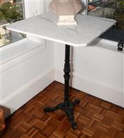 Sale 8098A - Lot 85 - Tall Marble Top Occasional Table With Cast Iron Base And Canted Corners, Height 111cm, Width 80cm, Depth 80cm