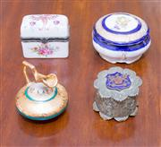 Sale 8346A - Lot 70 - A French enamel pill box, together with a French lidded powder box, a Limoges miniature jug, and an EP box with shield decoration