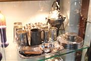 Sale 8362 - Lot 202 - Pewter Mugs With Silver Plate Examples Together with Other Metal Wares Incl Teapot On Burner