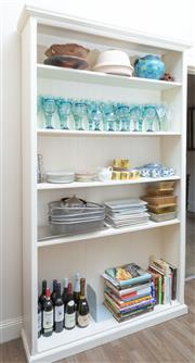 Sale 8800 - Lot 247 - A large white painted timber shelving unit with four shelves, H 210 x W 127 x D 32cm