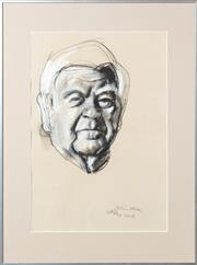 Sale 8653A - Lot 1 - Wesley Walters - Preliminary Sketch for Sir Douglas Wright Portrait 1983 54 x 37cm
