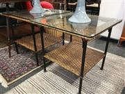 Sale 8782 - Lot 1366 - Pair of Wicker and Glass Side Tables
