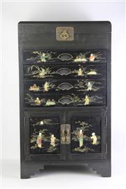 Sale 8815C - Lot 10 - Chinese Tone and Shell Inlaid Cutlery Chest with Lift Top & Felt Lined Drawers H 87cm