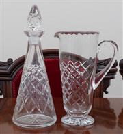 Sale 8908H - Lot 51 - A cut glass decanter together with a matching jug. Height of decanter with stopper 33cm