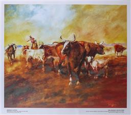 Sale 9143A - Lot 5046 - HUGH SAWREY (1919 - 1999) - Kidman Cattle - Bringing Up The Tail End Of The Mob Urandangie Stock Route 37.5 x 45.5 cm (frame: 75 x 8...