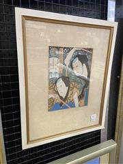 Sale 9004 - Lot 2017 - A Japanese Woodblock Print After Yoshitaki of Bust of Kabuki Actors , 45 x 36 cm, frame (label verso)