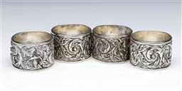 Sale 9093P - Lot 34 - Set 4 Thai Sterling Silver Napkin Rings with Dancers Stamped Inside, dia. 4.5cm.