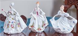 Sale 9103M - Lot 510 - A group of three Royal Doulton figures including Country Rose HN3221, Kathy HN3305, and Diana HN2468