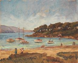 Sale 9125 - Lot 580 - Attributed to Dora Toovey (1898 - 1986) Bay Scene with Moored Boats and Figures oil on canvas laid on board (unframed) 25 x 30 cm un...