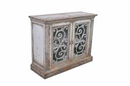 Sale 9140F - Lot 194 - A weathered grey reclaimed timber sideboard with 2 doors. Dimensions: W113 x D42 x H92 cm