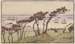 Sale 9237A - Lot 5004 - ATTRIBUTED LAURA KNIGHT (1877-1970) (ENGLISH) By The Sea, Cornwall c1920 linocut 21 x 36 cm (frame: 49 x 66 cm) signed lower right
