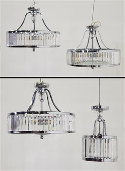 Sale 9255 - Lot 1026 - Set of 3 metal & glass hanging lights together with a smaller example (larger - h:37 dia:50cm)