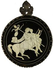 Sale 8057 - Lot 47 - Ivory Inlaid Timber Backed Medallion of a Centaur & His Lover