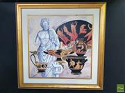 Sale 8544 - Lot 2036 - Marino Kounias - Still Life - Male Sculpture and Athenian Pottery 98 x 98cm (frame size: 140 x 140cm)