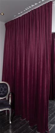 Sale 8761A - Lot 15 - A pair of purple velvet drapes, Height of drop 285cm W x 360cm,
