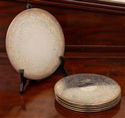 Sale 8882H - Lot 13 - A set of five plus one larger Strachan silver plated coasters, diameter of largest 23cm