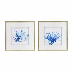 Sale 9140F - Lot 195 - A coral wall art set of 2 with blue print framed in a gold frame. Dimensions: W56 x D56 x H3 cm