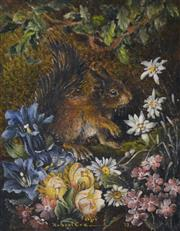 Sale 8000 - Lot 226 - Robert Cox (working 1970s - 1980s) - The Squirrel 1973 oil on board